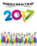 Happy new year 2017. Celebration greeting card design Stock Images