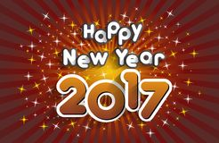 Happy new year 2017. Celebration greeting card design Royalty Free Stock Photography