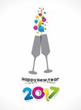 Happy new year 2017. Celebration greeting card design Stock Photos