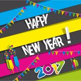Happy new year 2017. Celebration greeting card design Stock Photography