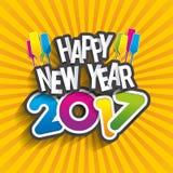 Happy new year 2017. Celebration greeting card design Stock Image