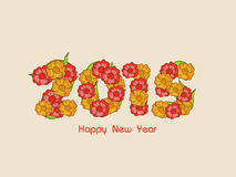 Happy New Year 2015 celebration greeting card. Happy New Year 2015 celebration greeting card design with beautiful text made by colorful flowers on beige Stock Illustration