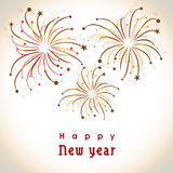 Happy New Year celebration greeting card with fireworks. Royalty Free Stock Photo
