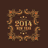 Happy New Year 2015 celebration greeting card with floral design Stock Photography