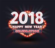 2018 Happy New Year celebration. Banner light retro style. Vector illustration Stock Photography