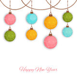 Happy New Year celebration with X-mas ball. Happy New Year celebration background with colorful hanging X-mas balls on white background Royalty Free Stock Images