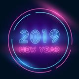 2019 Happy New Year Celebration. Neon, Retro Style. Vector EPS10. 2019 Happy New Year Celebration. Poster Background Concept. Neon Bright Light, Retro Style vector illustration