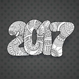 Happy New Year 2017 celebration number. Vector Xmas illustration in zentangle. Christmas background Royalty Free Stock Photo