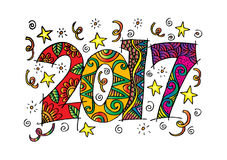 Happy New Year 2017 celebration. Happy New Year 2017 celebration number in zentangle style Royalty Free Stock Photo