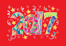 Happy New Year 2017 celebration. Happy New Year 2017 celebration number in zentangle style Stock Images