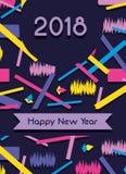 Happy new year celebration over figures background. Vector illustration Stock Photo