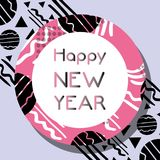 Happy new year celebration over figures background. Vector illustration Royalty Free Stock Images
