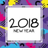 Happy new year celebration over figures background. Vector illustration Royalty Free Stock Photos