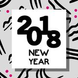 Happy new year celebration over figures background. Vector illustration Stock Photos