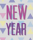 Happy new year celebration over figures background. Vector illustration Royalty Free Stock Image