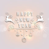 Happy New Year 2015 celebration poster design. Happy New Year 2015 celebration poster, banner or flyer with reindeer and hanging floral decorated Xmas Balls on Royalty Free Stock Images