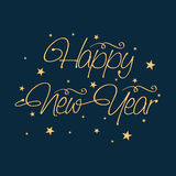 Happy New Year 2015 celebration poster design. Happy New Year 2015 celebration poster, banner or flyer with stylish text on stars decorated blue background Stock Images