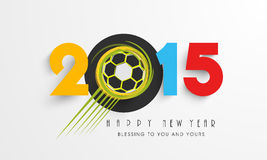 Happy New Year celebration poster design. Colorful text of year 2015 with football for Happy New Year celebration and wishing message on grey background Stock Photography