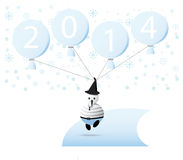 Happy New Year 2014. Celebration with snowman in New Year 2014 Royalty Free Stock Images