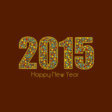 Happy New Year 2015 celebration with stylish text design. Happy New Year 2015 celebrations greeting card design with creative colorful text on brown background Stock Image