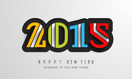 Happy New Year celebration with stylish text design. Colorful text of 2015 for Happy New Year celebration with wishing message on stylish grey background Stock Photo