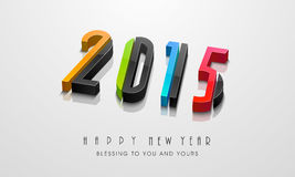 Happy New Year celebration with stylish text design. Happy New Year celebration with 3d text of year 2015 and other message on grey background Royalty Free Stock Photo