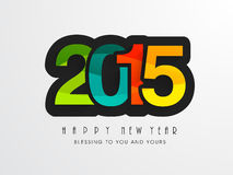 Happy New Year celebration with stylish text design. Poster, banner or flyer for Happy New year celebration with colorful text of 2015 on grey background Stock Image