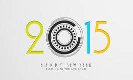 Happy New Year celebration with stylish text design. Happy New Year celebration poster, banner or flyer with stylish text 2015 and wishing message on grey Royalty Free Stock Images