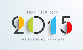 Happy New Year celebration with stylish text design. Happy New Year celebration with stylish text of 2015 and wishing message on grey background Stock Image