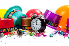 Happy New year celebration supplies on white Stock Images