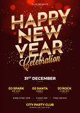 Happy New Year Celebration template or flyer design with date, t. Ime and venue details royalty free illustration