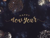 Happy New Year Text with Gold Fireworks in Night Sky. Happy New Year Celebration Text with Festive Gold Fireworks Collage in Night Sky Royalty Free Stock Images