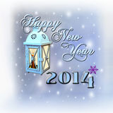 Happy New Year. 2014 - Celebration. Text, lantern and texture Stock Photo