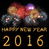 Happy New Year 2016. Happy New Year 2016 celebration with text on shiny colorful fireworks on black background Royalty Free Stock Photography