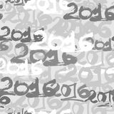 Happy New Year 2016 celebration wallpaper seamless pattern. Hand drawn numbers in calligraphy style Stock Images