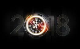 Happy New Year 2018 celebration with white light abstract clock on futuristic technology background, vector illustration. Happy New Year 2018 celebration with Royalty Free Stock Images
