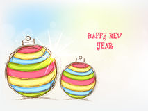 Happy New Year celebration with Xmas Balls. Stock Images
