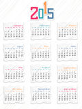 Happy New Year 2015 celebration with yearly calendar. Annual calendar of 2015 on stylish background for Happy New Year celebrations royalty free illustration