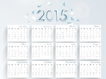 Happy New Year 2015 celebration with yearly calendar. Yearly calendar of 2015 on blue background for Happy New Year celebrations stock illustration