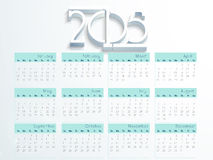 Happy New Year 2015 celebration with yearly calendar. Yearly calendar with 3D text 2015 on blue background for Happy New Year celebrations royalty free illustration