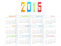 Happy New Year 2015 celebration with yearly calendar. Yearly calendar with 3D text 2015 on white background for Happy New Year celebrations stock illustration