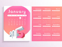 Happy New Year 2015 celebration with yearly calendar. Royalty Free Stock Photos