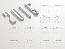 Happy New Year 2015 celebration with yearly calendar. Yearly calendar with shiny 3D text 2015 on grey background for Happy New Year celebrations royalty free illustration
