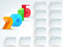 Happy New Year 2015 celebration with yearly calendar. Stylish annual calendar with colorful 3D text 2015 for Happy New Year celebrations Stock Images