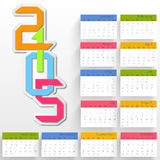 Happy New Year 2015 celebration with yearly calendar. Stylish annual calendar with colorful text 2015 on grey background for Happy New Year celebrations Stock Photography