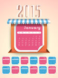Happy New Year 2015 celebration with yearly calendar. Stylish yearly calendar of 2015 for Happy New Year celebrations vector illustration