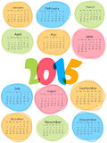 Happy New Year 2015 celebration with yearly calendar. Stylish yearly calendar with colorful text 2015 on white background for Happy New Year celebrations Stock Photography