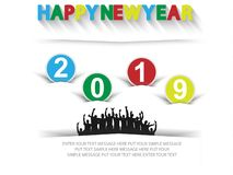 2019 HAPPY NEW YEAR CELEBRATIONS WITH PEOPLE. Simple royalty free illustration