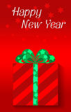 Happy new year celebrations. Vector illustration of red Gift box green ribbon for celebrations happy new year Stock Photography