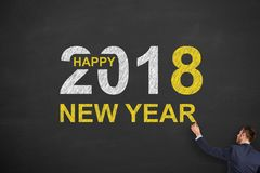 Happy New Year 2018 on Chalkboard Background Royalty Free Stock Image